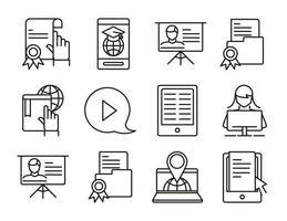 elearning en ligne éducation et développement classe définie icône de style de ligne vecteur