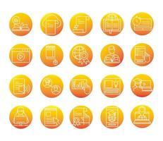 elearning en ligne éducation et développement classe définie icône de style dégradé vecteur