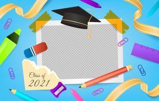 fond de cadre photo de remise des diplômes réaliste vecteur