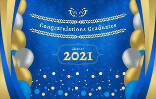 fond de photomaton de remise des diplômes bleu et or vecteur