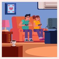 Couple sur un canapé jouant à des jeux vecteur