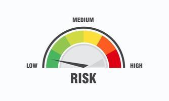 concept à haut risque sur l'illustration vectorielle de l'indicateur de vitesse icône de l'indicateur de vitesse vecteur d'élément de jauge infographique coloré