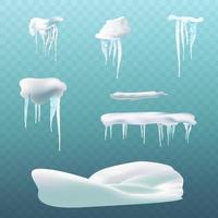 éléments de neige boule de neige et congères glaçons et bordures de calotte enneigée hiver isolé ensemble illustration de l'effet boule de neige givre illustration vectorielle de calotte enneigée vecteur