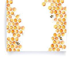 bordures d'aquarelle d'abeilles et de miel vecteur