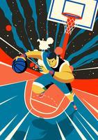 Joueur de basket-ball en cours d'exécution vecteur