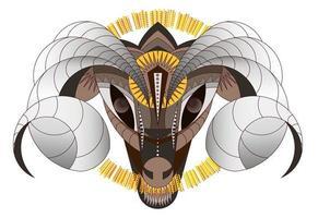 grand bélier d'interprétation géométrique des animaux à cornes vecteur