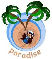 image vectorielle d'un hérisson sur une île sous un palmier vecteur