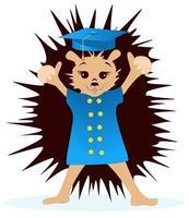 image vectorielle d'un hérisson dans un manteau et d'une casquette académique carrée à partir d'une série d'illustrations avec un hérisson vecteur
