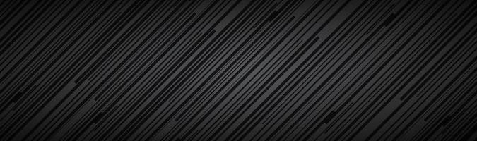 Résumé sombre en-tête rayé noir et gris lignes diagonales et bandes motif fibre métallique bannière simple illustration vectorielle vecteur