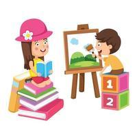 enfants peignant et lisant un concept de passe-temps de livre vecteur