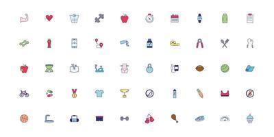 ensemble d'icônes de mode de vie sain vecteur
