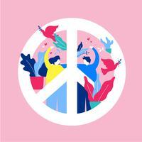 Illustration vectorielle de paix et d'amour vecteur