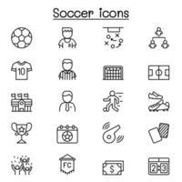 jeu d'icônes de football ou de football dans un style de ligne mince vecteur