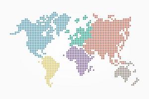 style de pixel de carte du monde et conception de couleur plate couleur différente du continent vecteur