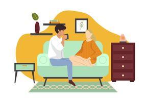 Couple assis sur un canapé vecteur
