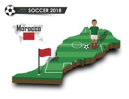 joueur de football de l'équipe nationale de football du maroc et drapeau sur la carte du pays de conception 3d vecteur de fond isolé pour le concept de tournoi de championnat du monde international 2018