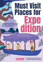 doit visiter des lieux pour le modèle de couverture de magazine d'expédition vecteur