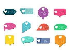 vecteur, comme, notification, compteur, plat, conception, icônes, ensemble, isolé, blanc, fond vecteur