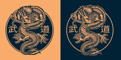 une illustration en noir et orange d'un dragon asiatique vecteur