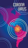 affiche de la deuxième vague du virus corona avec des cartes du continent américain vecteur
