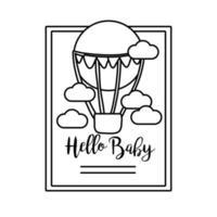 carte de cadre de douche de bébé avec air de ballon chaud et bonjour style de ligne de lettrage de bébé vecteur