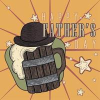 affiche vintage de la fête des pères avec une chope de bière en bois avec un chapeau vecteur