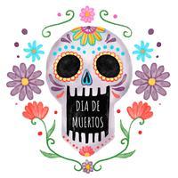 Crâne coloré avec des fleurs au jour de la mort