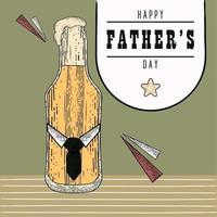 affiche vintage de la fête des pères avec une bouteille de bière avec de la mousse et une cravate vecteur
