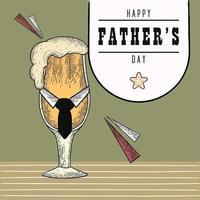 affiche vintage de la fête des pères avec un verre à bière avec de la mousse et une cravate vecteur