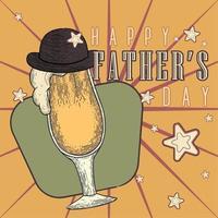 affiche vintage de la fête des pères avec un verre à bière avec un chapeau vecteur