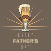 affiche vintage de la fête des pères avec un verre à boire avec une moustache et de la mousse vecteur