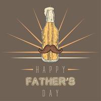 affiche vintage de la fête des pères avec une bouteille de bière avec une moustache et de la mousse vecteur