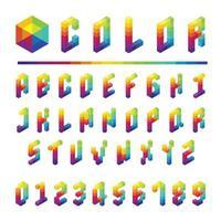 Type de police de l'alphabet illustration vectorielle de style boîte colorée vecteur