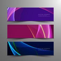 Jeu de bannières élégantes abstraites colorées ondulées