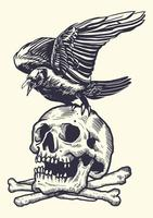 Linogravure Squelette vecteur