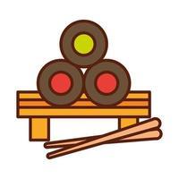 sushi japonais avec des bâtons dîner de restauration rapide et menu repas savoureux et ligne malsaine et icône de remplissage vecteur