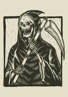 Illustration de linogravure squelette vecteur