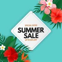 affiche de vente d'été. fond naturel avec des feuilles de palmier tropical et de monstera, fleur exotique. vecteur
