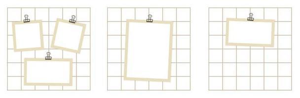 collection de trois planches d'humeur des papiers d'artisanat bruns sont un classeur épinglé pour certaines notes de mémoire d'annonce informations importantes photos illustrations cartes postales vecteur