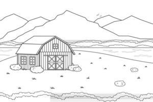 concept de ferme monochrome noir blanc d'été ou de printemps dans la campagne dessin animé doodle vecteur clôture de grange rouge mignonne et champ de nuages et arbres buissons et plantes pour livre de coloriage de fond de vie animale