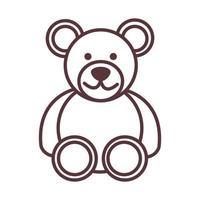 bébé ours en peluche jouet objet nouveau-né modèle ligne icône du design vecteur