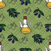 modèle sans couture d'huile d'olive. motif de branche d'olivier. illustration vectorielle dessinés à la main vecteur