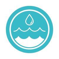 goutte d'eau et ondulations nature icône de style bloc bleu liquide vecteur
