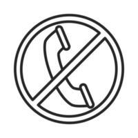 signe interdit avec icône de style de ligne de communication téléphonique vecteur