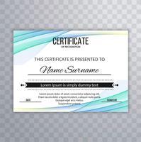 Certificat abstrait vague design fond