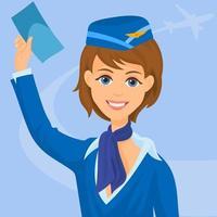 hôtesse de l'air en uniforme fille équipage de cabine vecteur