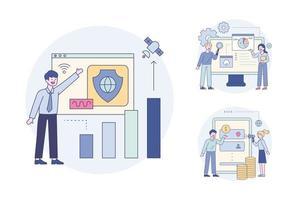 personnes mettant à niveau la sécurité en ligne, personnes effectuant des transactions financières en ligne, experts vérifiant les résultats de l'analyse graphique. ensemble d'illustrations vectorielles minimales de style design plat. vecteur