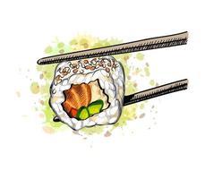 sushi gunkan avec saumon et concombre à partir d'une éclaboussure d'aquarelle dessinée à la main illustration vectorielle de peintures vecteur