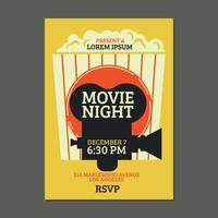 Affiche de film cool de nuit avec fond de pop-corn vecteur