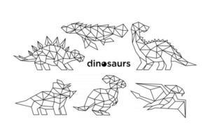 dinosaures avec un design de style géométrique vecteur